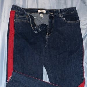 Red stripe jeans